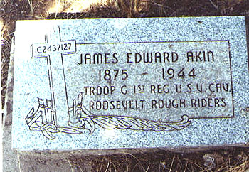 "Grave of James Akin of the ""Rough Riders,"" in Colorado"