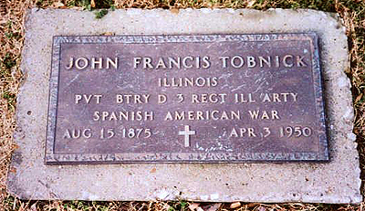 Grave of John Francis Tobnick, 3rd Illinois Volunteer Infantry in Illinois