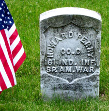 Grave of Howard Perry, 161st Indiana Volunteer Infantry, in Indiana