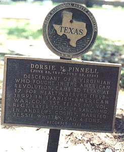 Memorial to Dorsie Pinnell in Texas