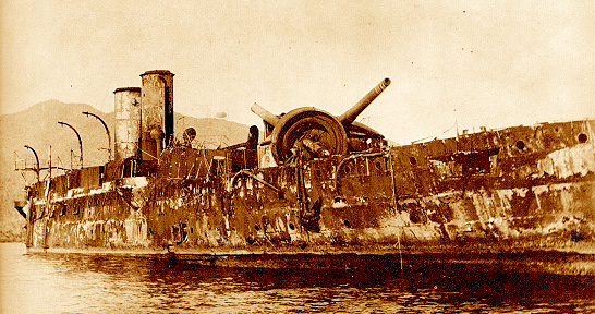 The wrecked Spanish Cruiser Vizcaya