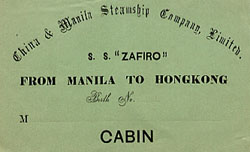 Ticket for the steamer S.S. Zafiro